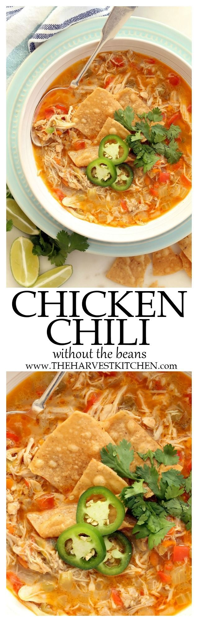 This Chicken Chili without Beans is super easy to make any night of the week. It's loaded with tender bites of chicken simmered in a richly flavored broth.| beanless chili recipe | | easy chicken chili | | white chicken chili | | clean eating | | healthy recipes |