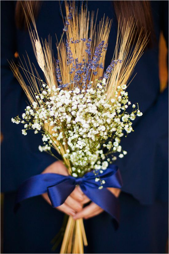 Baby's breath, lavender and wheat wedding bouquet.