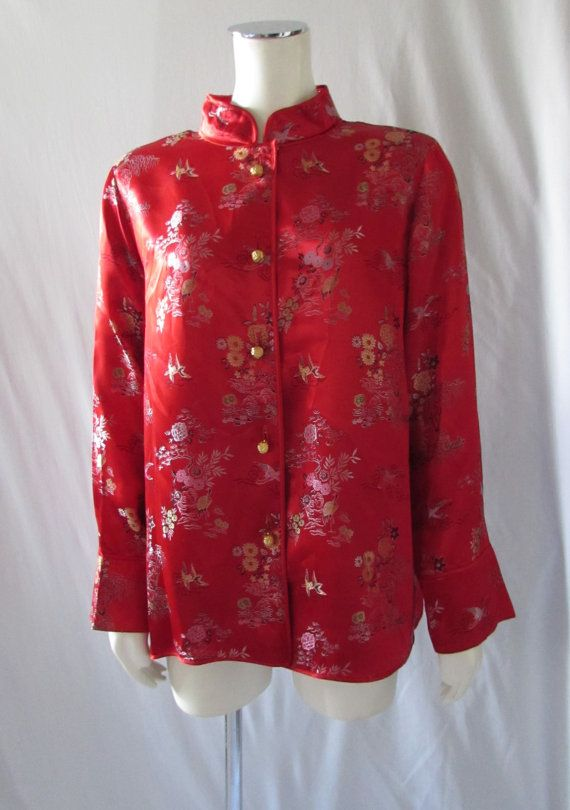Asian Inspired Red Blouse/Jacket made in USA costume high