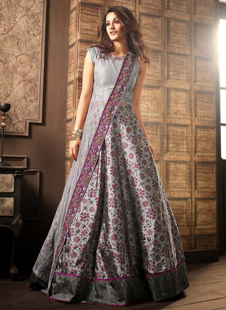 Buy Grey Net A Line Lehenga online, SKU Code: GHSCC41003. This Grey color Party a line lehenga for Women comes with Printed Net. Shop Now!