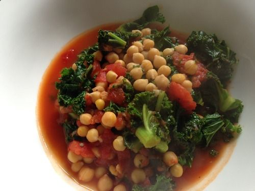 Steamy garlicky Kale, Chickpea and Tomato soup