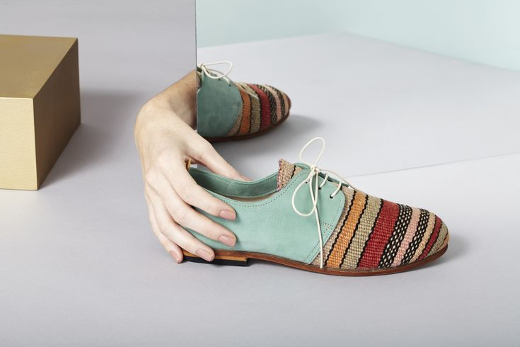 Classic Oxford shoes made from vintage Moroccan rugs