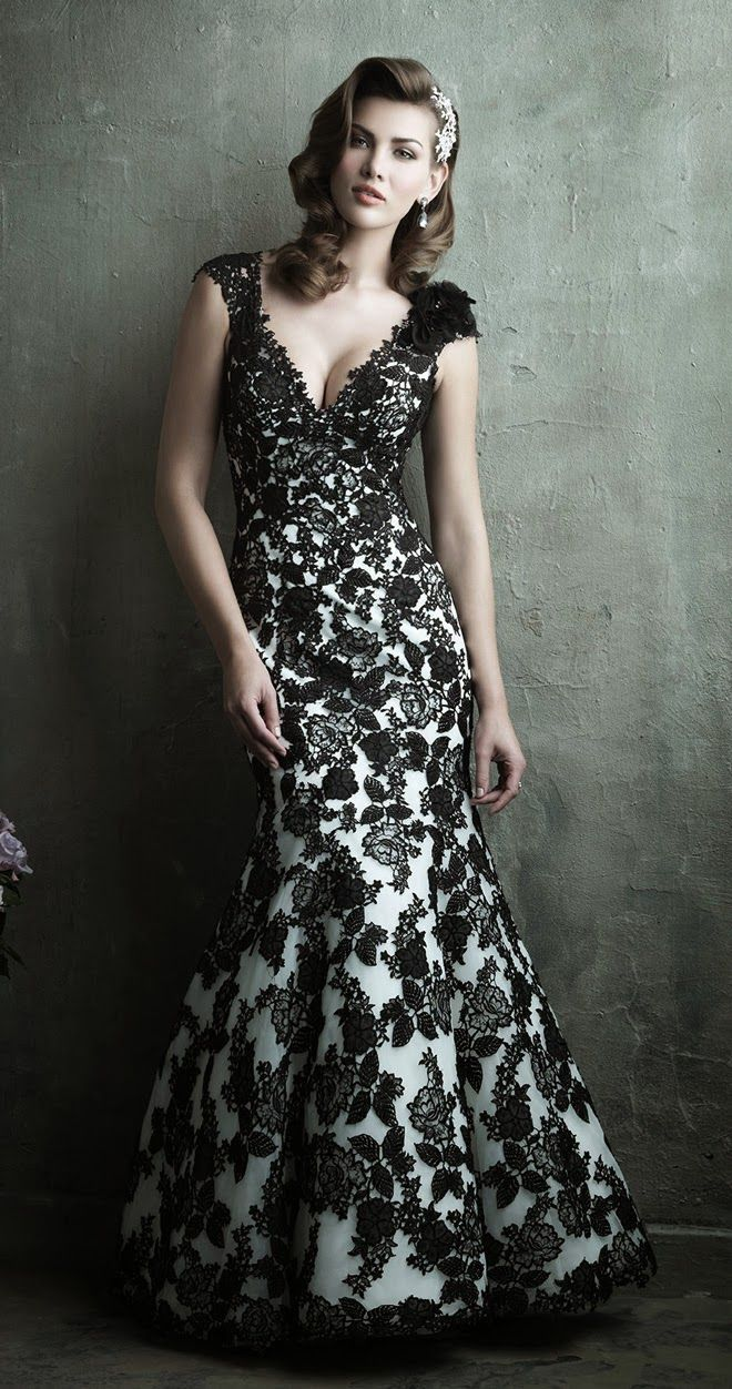 All black and white lace wedding dresses accept. opinion