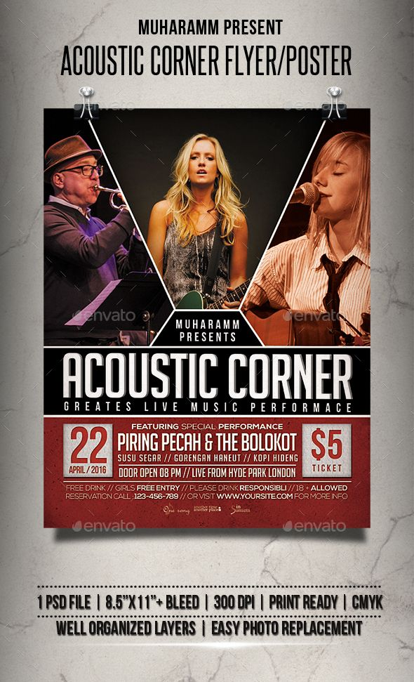 Acoustic Corner Flyer / Poster Template PSD
