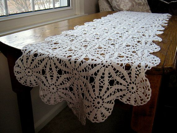 Antique Crocheted Lace Antique Crocheted Table by BeautifulPurpose