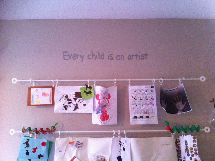 Ideale manier om tekeningen van de kinderen op te hangen