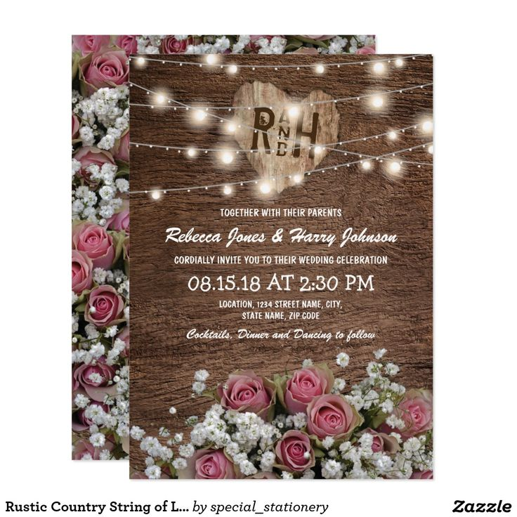 zazzle wedding invitations promo code%0A Rustic Country String of Lights Wedding Card
