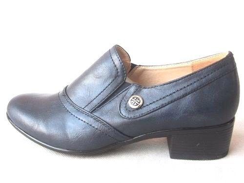 New Women's  Blue Block  Work Mid Heel Slip On Shoes