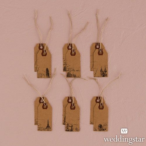 Favor tags Cardstock or thin cardboard, printed on both sides, with a twine tie.
