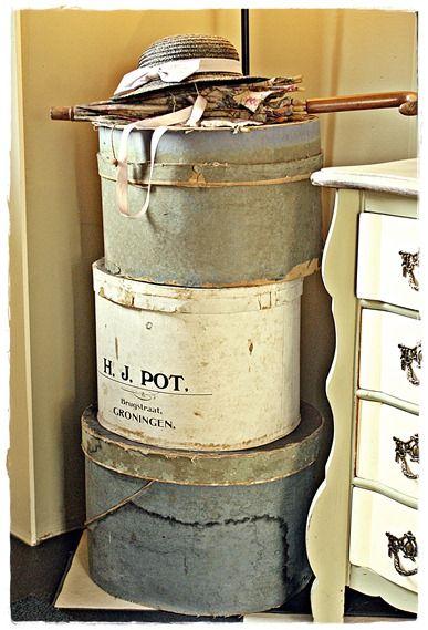 ♥ old hat boxes <3  --- https://www.pinterest.com/lstevens2951/housing-for-the-hats/