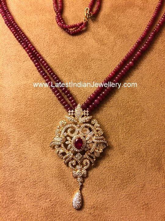 Ruby Chain with Diamond Pendant