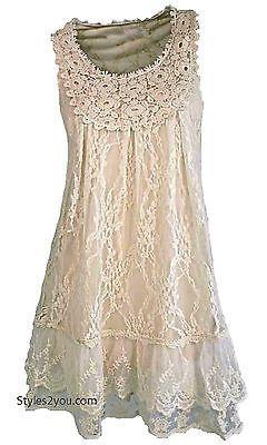 NWT Pretty Angel Clothing Anita Antique Lace Tunic In Carmel S M L XL 66430