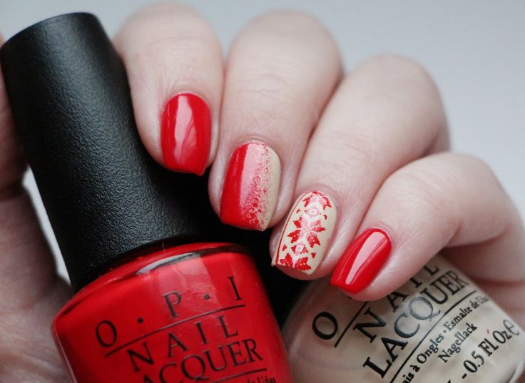 Festive nails, Nails ideas 2018, New Year nails 2018, Painted nail designs, Red nails ideas, Red shellac nails, Two-colored bright nails, Vivid nails