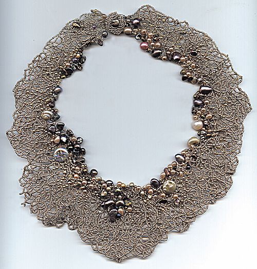 Drawn to nature: seed bead and pearl freeform necklace - Jewelry Store