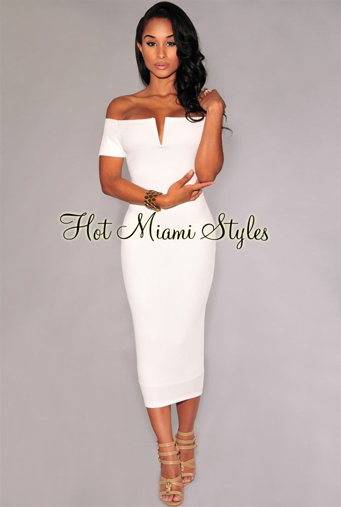 Off White Textured Off The Shoulder Midi Dress African
