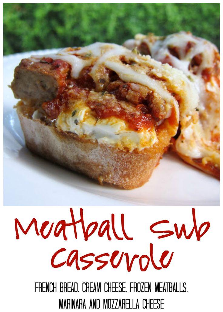 Meatball Sub Casserole - french bread, cream cheese, frozen meatballs, marinara and mozzarella cheese - quick casserole recipe! We LOVE this dish! Fun change to pizza night!