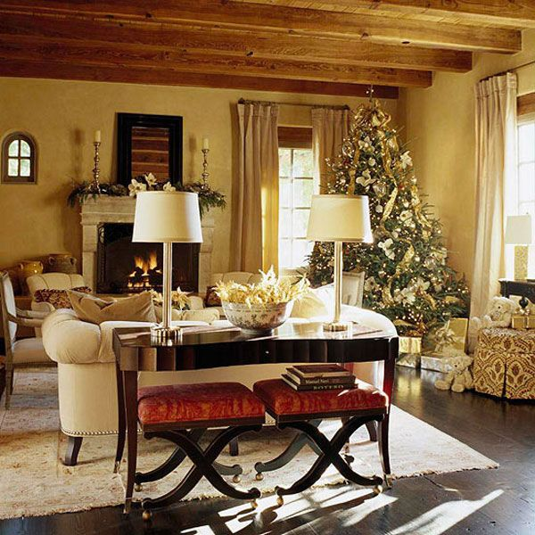 Rustic Beams Keep Elegant Furniture From Feeling Too Stuffy. Christmas Decor  Is Beautiful Without Being