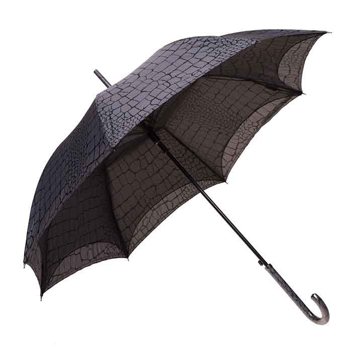 The Clifton Auto Open Parisienne Series Crocodile has a unique twist to an ordinary Rain Umbrella. Featuring a matching handle and mesh lined canopy.