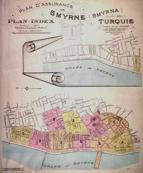 Chas. E. Goad. İzmir, 1905. Index Plan.   IFEA Koleksiyonu  APLGDSMYRNDX