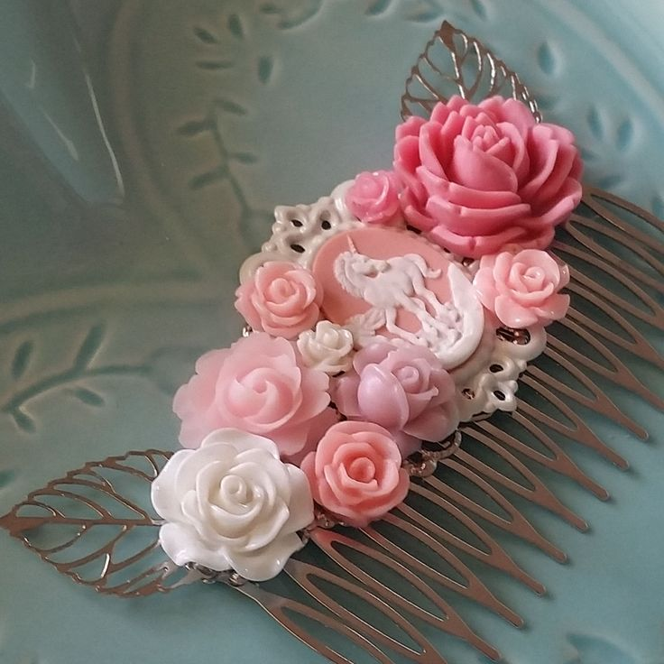 Pink Unicorn Hair Comb-Fantasy Fascinator-Ren Faire Fashion-Festival Accessory-Fairy Bride-Mythology-Sweet Lolita Hair Accessory-Pink roses
