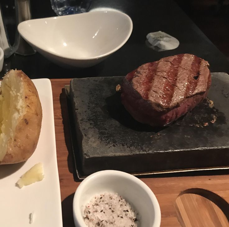 [I ate] Filet steak which I finished to my liking on a hot stone. Covent Garden London