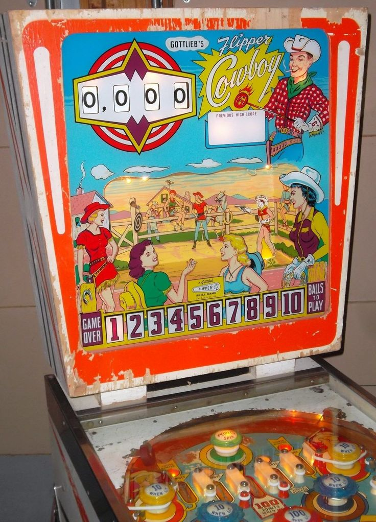 1962 gottlieb flipper cowboy animated aab pinball fully working new backglass pinball. Black Bedroom Furniture Sets. Home Design Ideas