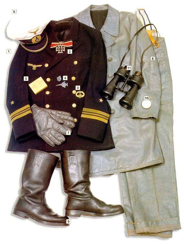 "Captain (Kapitanleutnant)- U-boat commander, 1941 01 - officers' jacket, Kapitanleutnant insignia 02 - Kninght's Cross of the Iron Cross 03 - U-boat crew badge 04 - Unofficial badges of the 1st and 9th U-boat flotilas 05 - cigarettes 06 - Kriegsmarine officers' cap 07 - leather gloves 08 - leather ""U-Boot-Päckchen"" - U-boat battle dress 09 - boots 10 - ""Junghans"" watch 11 - naval binoculars"