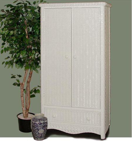 Headboard, nightstand and Armoire:  Kona Rattan Bedroom Suite from Schober Company 4774| White Wicker Bedroom Furniture