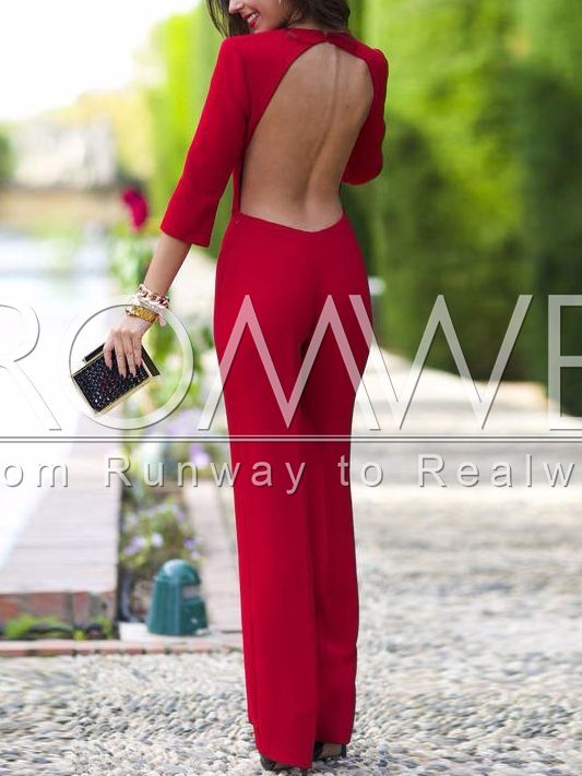 Red+Long+Sleeve+Backless+Jumpsuit+21.99