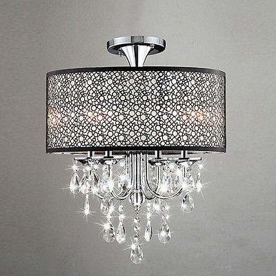 New Drum Shade Crystal Ceiling Chandelier Pendant Light Fixture Lighting Lamp SA
