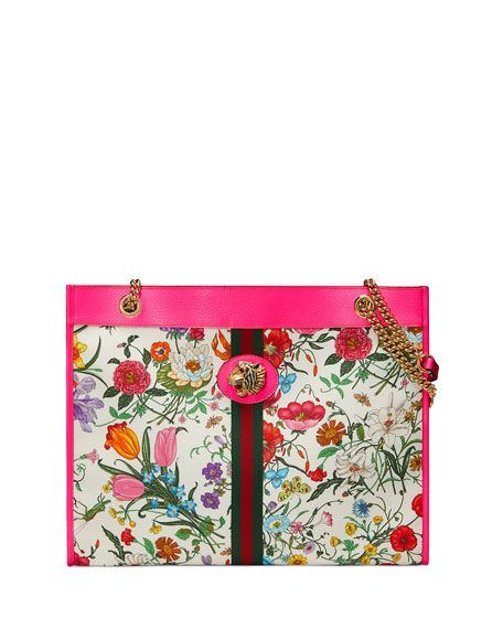 34cc251acbc Rajah Medium Floral-Print Tote Bag with Tiger Head by Gucci at Neiman Marcus