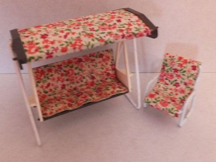 Vintage Carolines Home Dolls House Garden Swing & 1 Chair - Fits Lundby | eBay