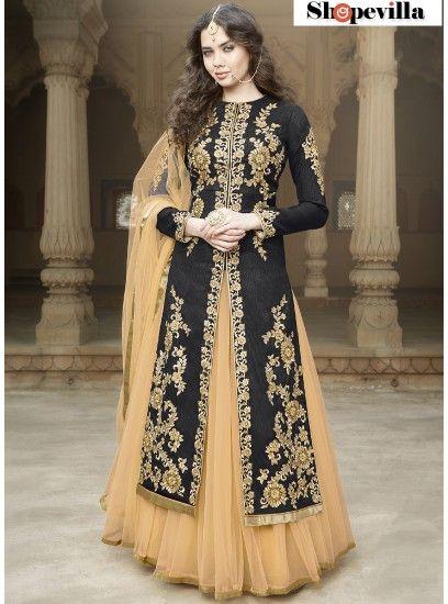 Black Colour Heavy Embroidery Bangalore Silk Lehenga Style Suit-1506-Black