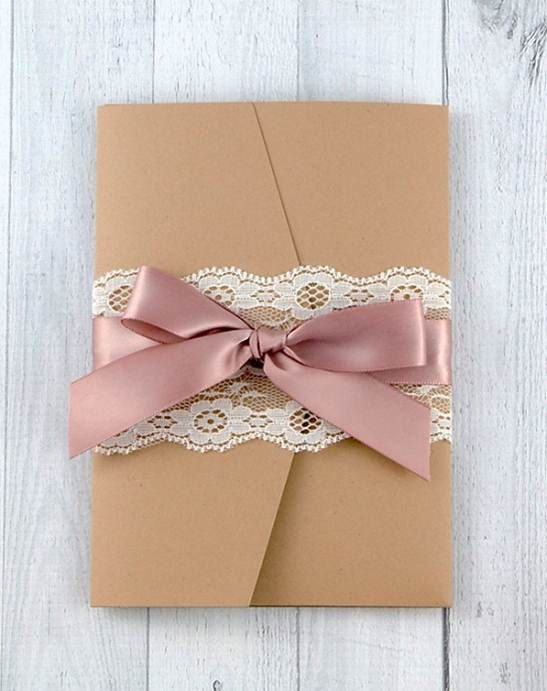 Shabby Chic Wedding Invitation - Lace Pocketfold Wedding Invitation on Etsy