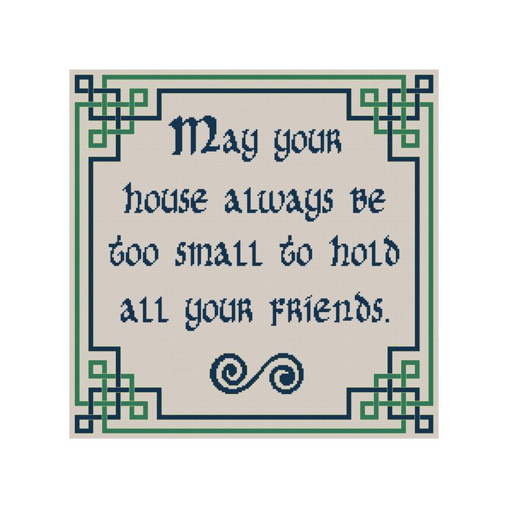 Celtic Cross Stitch Pattern Irish Blessing Counted Cross Stitch Chart by Cowbell Cross Stitch Instant Download Cross Stitch May Your House by CowbellCrossStitch on Etsy