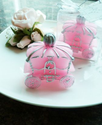 pink candle wedding favors, pink candle bomboniere