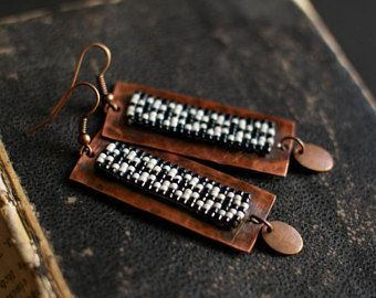 Boho Earrings, Black and White Festive Copper Earrings, Native American Inspired Earrings, Copper Dangles, Long Earrings, Beadwork Earrings