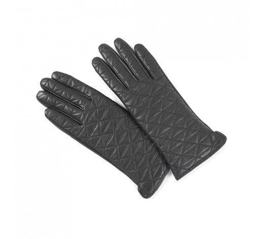 Jacqui Glove in black quiltet leather // Markberg