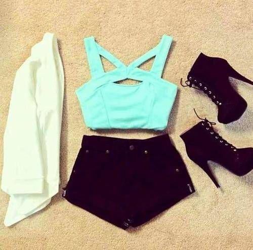 white cardigan, black high waisted denim shorts, turquoise crop top, black lace up ankle boot heels, spring, girly, cute, fashion