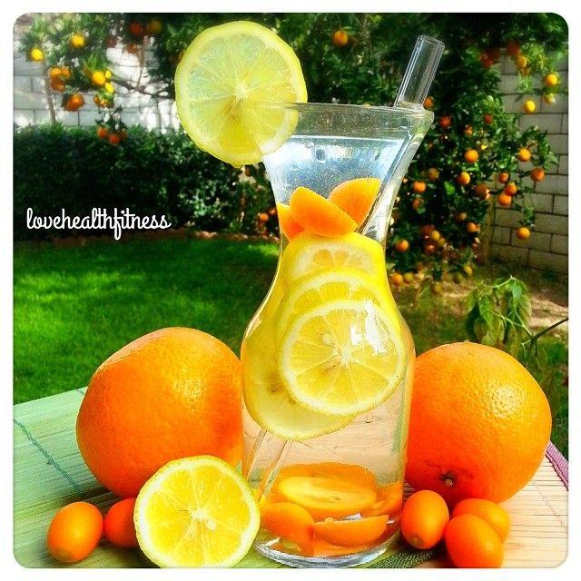 Citrus infused water: lemon, orange, & cumquat! http://instagram.com/lovehealthfitness