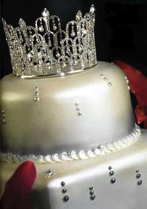 Rhinestone Teardrop Royal Tiara Crown Cake Topper