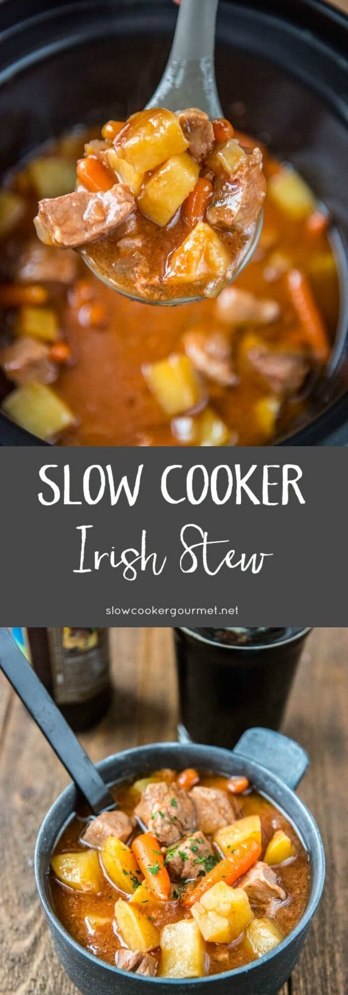 The perfect simple and hearty meal! Slow Cooker Irish Stew is loaded with tender pork shoulder, veggies and your favorite stout beer.