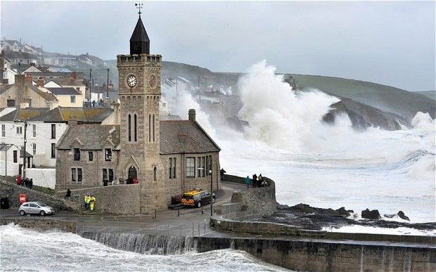 Porthleven Harbour in storm conditions...