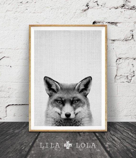 Fox Print Woodlands Decor Wilderness Fox Wall Art by LILAxLOLA