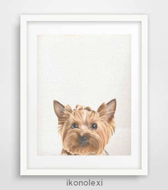 Yorkshire dog art, peekaboo animals, yorkie print, baby animal print, dog print, nursery wall art, dog poster, kids wall art, dog portrait by Ikonolexi on Etsy