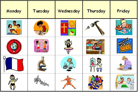 Template, in MSPublisher format, for planning a weekly schedule with examples of how it could be used. Uses clip art