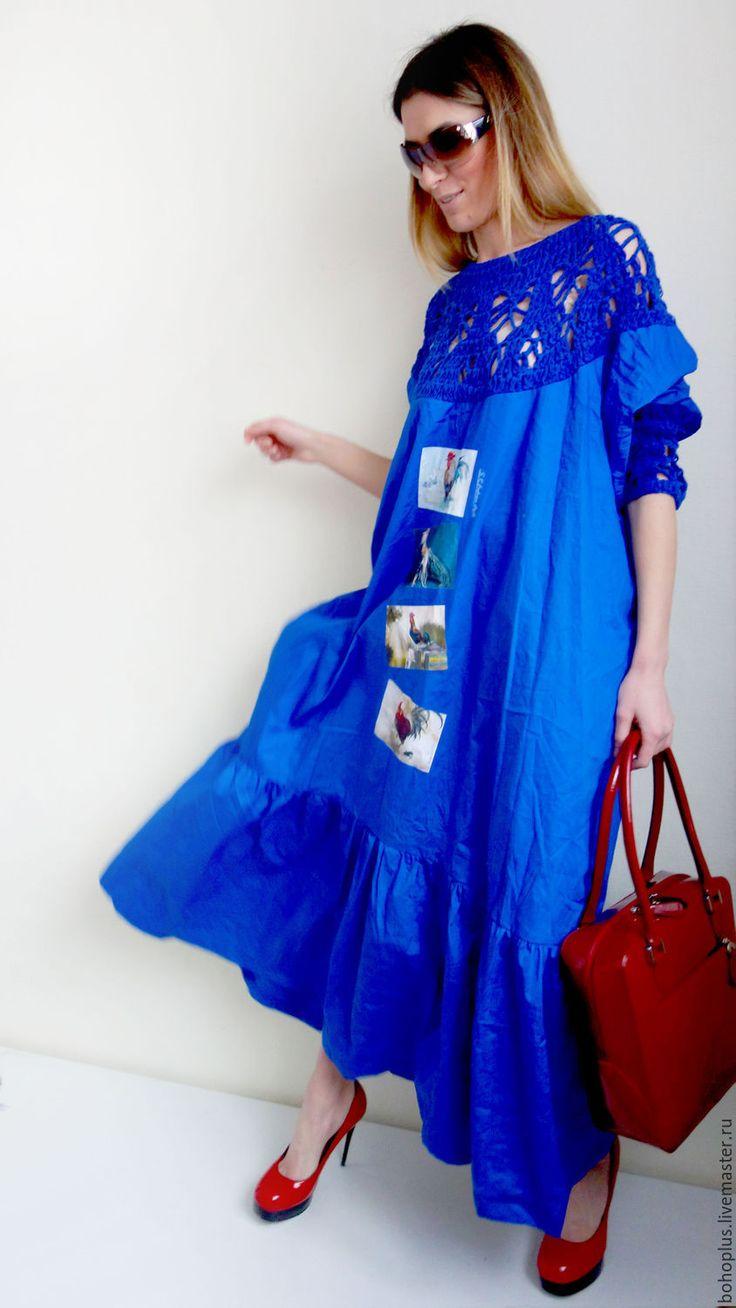 """Купить Платье в стиле бохо """"Васильковое счастье 2"""" - синий, рисунок, платье, платье в пол"""