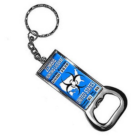 United States Zombie Hunting License Blue Permit Keychain Key Chain Ring Bottle Bottlecap Opener, Silver
