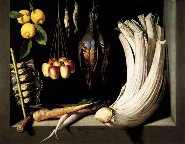 The first known Spanish painter of still life was Blas de Prado, however none of his work survives. It is believed he instructed Juan Sanchez Cotan (1560-1627). The earliest of these Cotan paintings and likely the earliest known Spanish still life, or bodegon is 'Still Life with Game, Vegetables and Fruit' (1602).  It exemplifies the mastery he brought to the genre: everyday objects instilled with a dignity that monumentalises them.