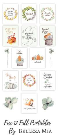 12 FREE fall printables that will complement any autumn home decor. These water colored pages fit a 8x10 frame and make for easy fall decor.